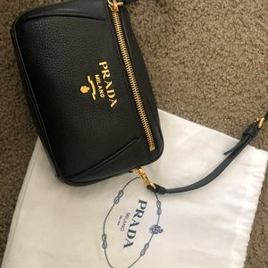 Black Prada cross body purse / Belt bag .